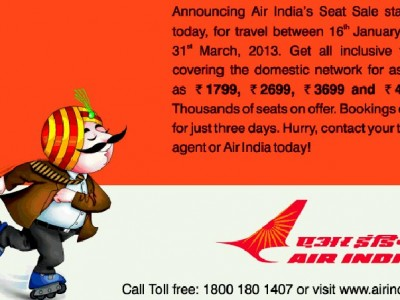 Air India offer Sale for 3 days only