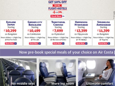Get 50% Off on Flights + Hotels Booking from Costa Airlines