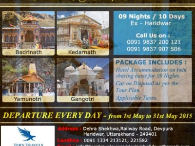Chardham Yatra – 2015 Tour Package  By Skylark Adventure Tours