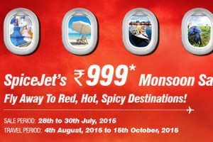 Get All Flights @ Rs 999/ – On SpiceJet Monsoon Sale