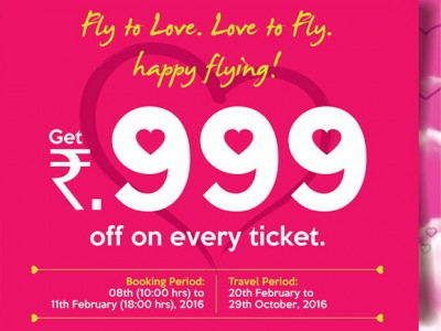 Valentine's Day Offer, Rs.999 off on every ticket By Aircosta