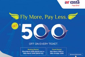 Get Rs 500 Off On Every Ticket By Aircosta
