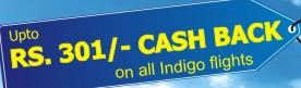 Indigo Airlines Flights Cashback offer with Travel Chacha