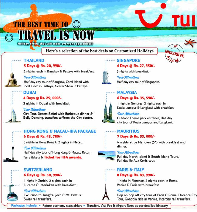 International Travel Packages From Tui Travel Package Deals