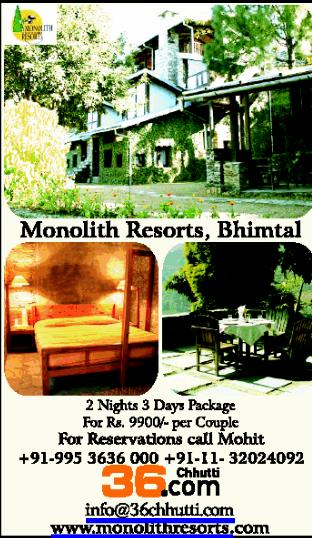 Bhim Tal Travel Package with Monolith Resorts