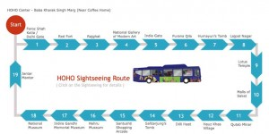 HOHO Bus Route Map in Delhi