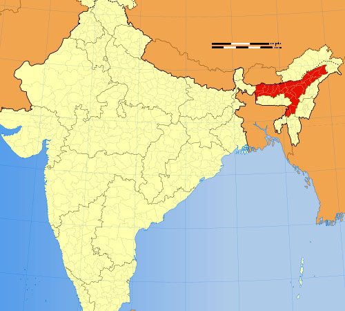 Location of Assam in Indian Map