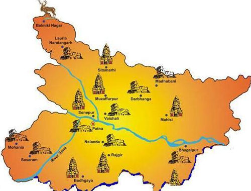Bihar Tourist Map - Travel Places of Bihar