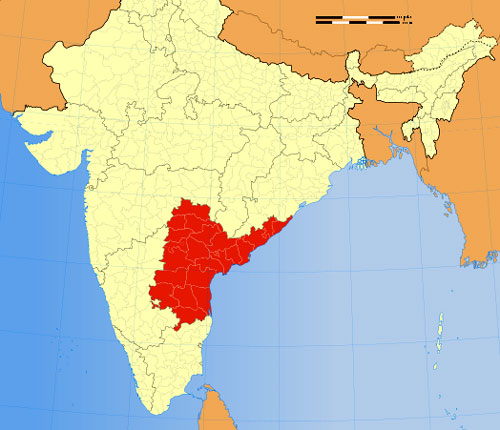 Location Map of Andhra Pradesh in India