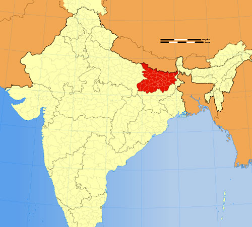 Location of Bihar on Indian Map