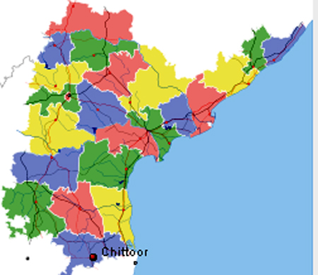 Location of Chittoor on Andhra Map