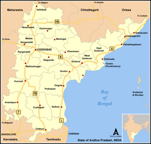 Network Map of National Highway NH Roads in Andhra Pradesh