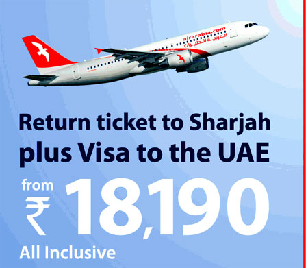 Air Ariabia Flight Tickets with Visa Offer to Sharjah