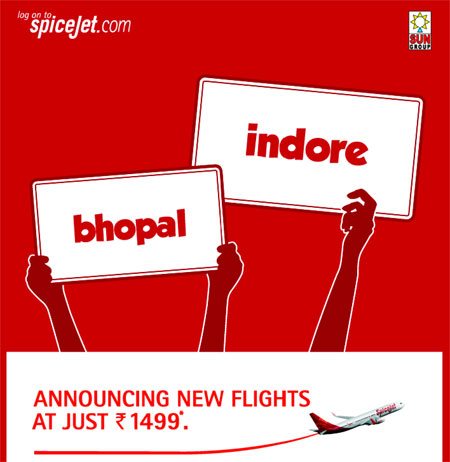 Spicejet Airlines Cheap Flights to Indore and Bhopal from Delhi