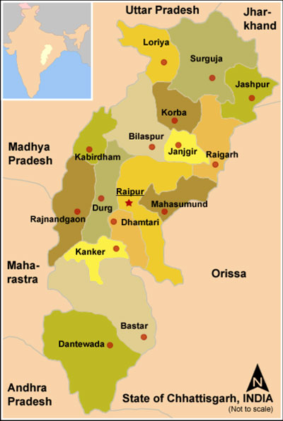 Chattisgarh Map - District and Cities