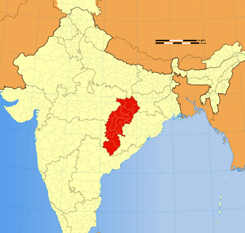 Location of Chhattisgarh on Indian Map