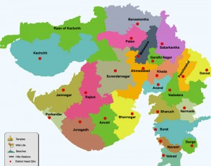 Gujarat Districts  and District Headquaters Map