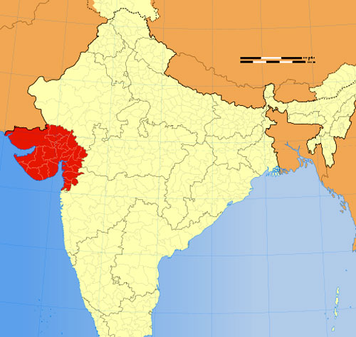 Location of Gujarat on Indian Map