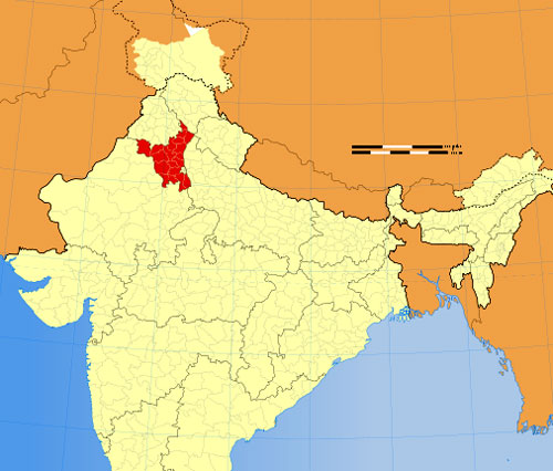 Location of Haryana on Indian Map