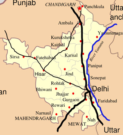 Haryana Map - Important Cities and Towns