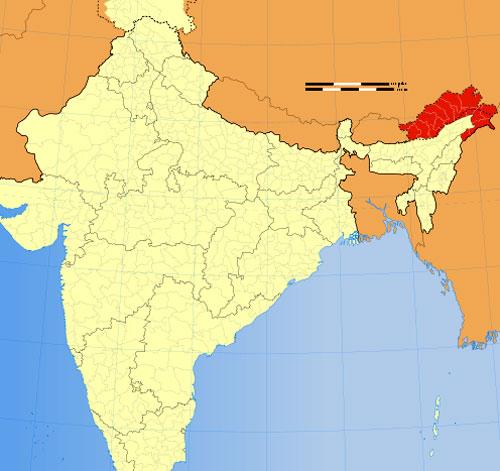 Location of Arunachal Pradesh in Indian Map
