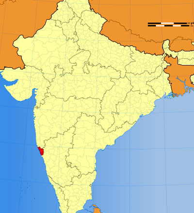 Location of Goa on Indian Map