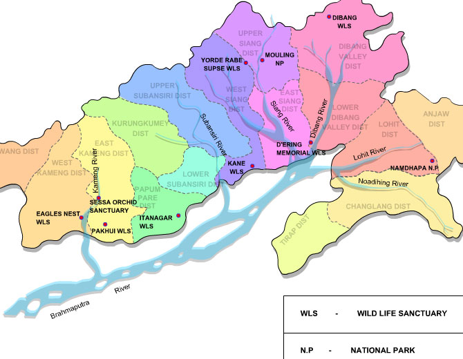 Arunachal Pradesh National Parks and Wildlife Sanctuary Map