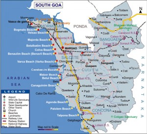 South Goa Travel Map with Tourist Destinations