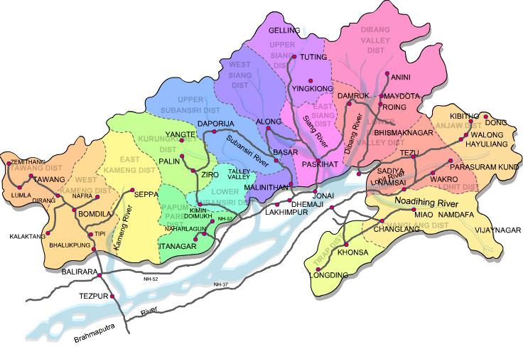 Tourist Map of Arunachal Pradesh