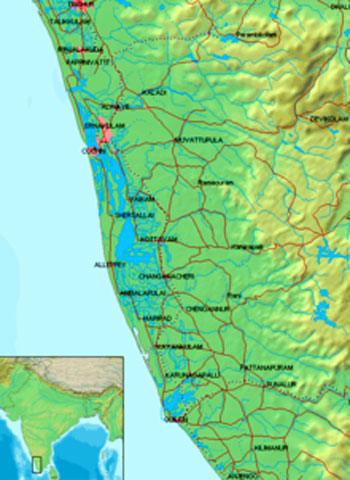 Kerala Backwaters Location Map