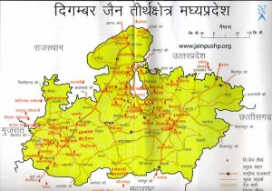 Map of Digambar Jain Tourist Places