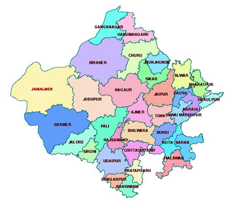 Rajasthan District map