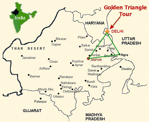 Golden Triangle Route Map with Rajasthan