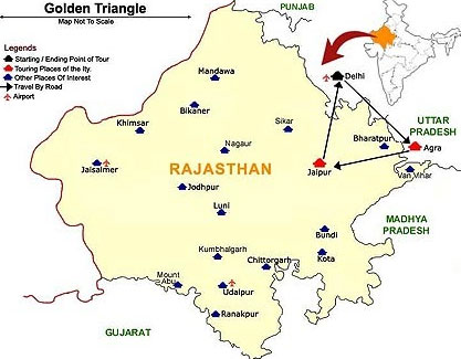 Golden Triangle Map with Agra, Jaipur, Delhi