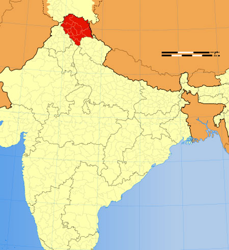 Location of Himachal on Indian Map