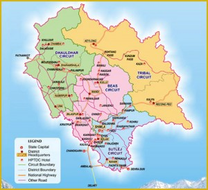 Maps of Popular Himachal Tourist Circuits