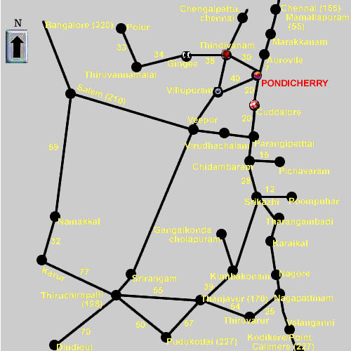 Pondicherry Route Road Map