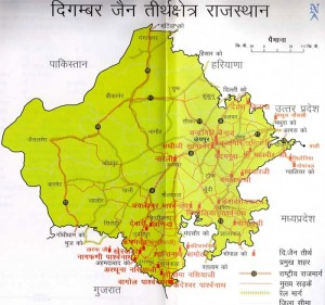 Map of Digambar Jain Tourist Places in Rajasthan