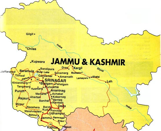 Jammu Kashmir Location Map