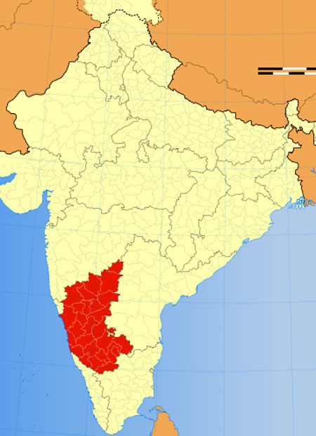 Location of Karnataka on Indian Map
