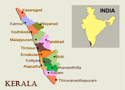 Location of Kerala on Indian Map