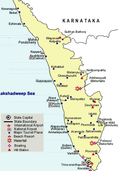 Map of Tourist Places in Kerala