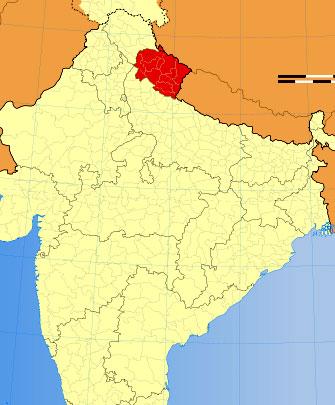 Location of Uttarakhand on Indian Map