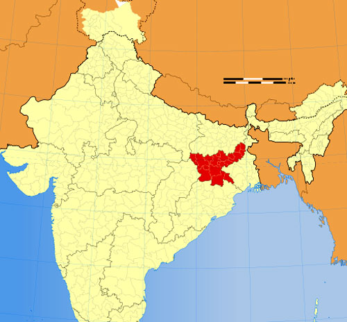 Location of Jharkhand on Indian Map