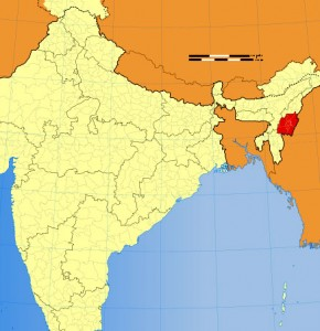 Location of Manipur on Indian Map