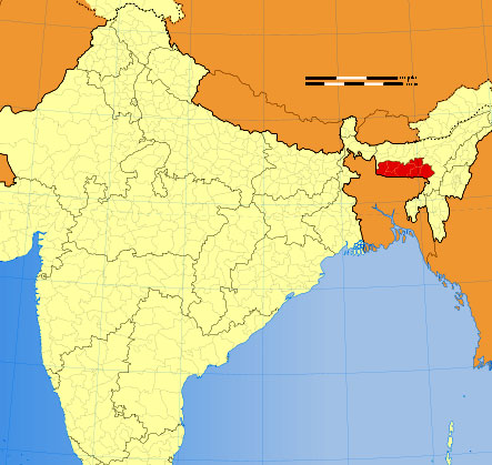 Location of Meghalaya on Indian Map