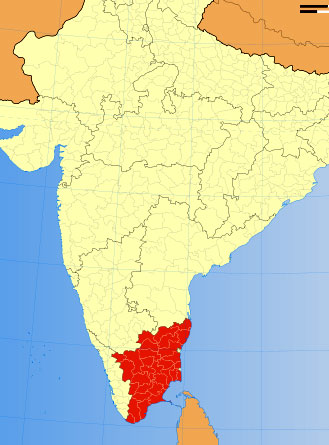 Location of Tamil Nadu on Indian Map