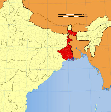 Location of West Bengal on Indian Map