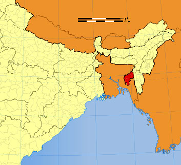 Location of Tripura on Indian map