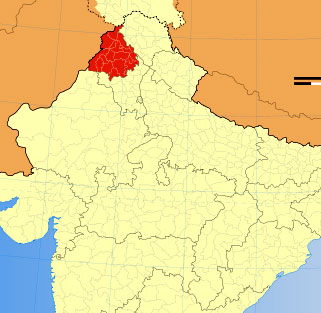 Location of Punjab on Indian Map